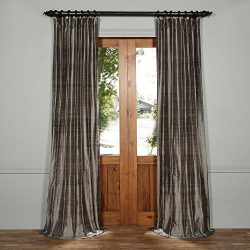 DIS-ID1673-96 Textured Dupioni Silk Curtain, Turbulence Grey, 50 x 96