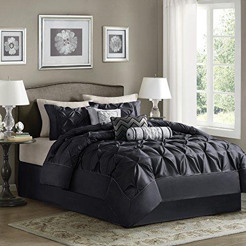 Madison Park Laurel Cal King Size Bed Comforter Set Bed in A Bag – Black, Wrinkle Tufted P ...