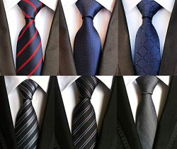 Lot 6 pcs Classic Men's Tie Silk Necktie Woven Jackquard Neck Ties + Gift Box Style 01