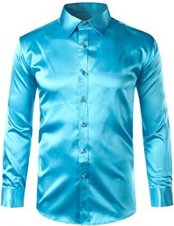 ZEROYAA Mens Regular Fit Long Sleeve Shiny Satin Silk Like Dance Prom Dress Shirt Tops Z6 Lake B ...