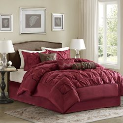 Madison Park Laurel Cal King Size Bed Comforter Set Bed in A Bag – Burgundy, Wrinkle Tufte ...