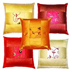 rajwada-fashion Indian Ethnic Hand Embroidery Decorative Silk Pillow Cushion Cover Set of 5 Pcs  ...