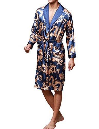 Haseil Men's Satin Robe Dragon Chinese Silk Spa Long Sleeve House Kimono Bathrobe, Royal B ...