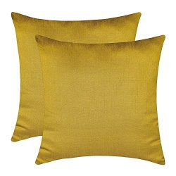 The White Petals Mustard Yellow Cushion Covers (Faux Silk, Solid Color, 16×16 inch, Pack of 2)