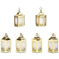 6 Gold Mini Holographic Star Lanterns, 5″, Warm White LEDs, Batteries Included