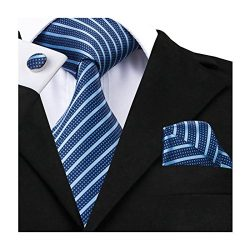 Barry.Wang Men Tie Business Blue Stripe Tie Set Hanky Cufflinks Formal