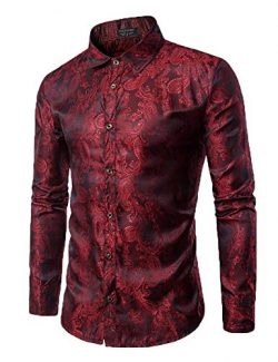 COOFANDY Men's Long Sleeve Satin Luxury Printed Silk Dress Shirt Dance Prom Party Button D ...