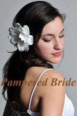White Bridal Silk Flower Gardenia with Jewel Center Hand Crafted