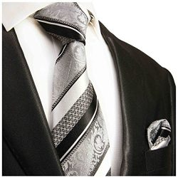 Silver and Black Silk Tie and Pocket Square Paul Malone Red Line