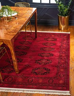 Unique Loom Tekke Collection Tribal Traditional Torkaman Red Area Rug (4′ x 6′)