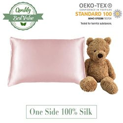 Infant Pillow Case MYK Silk 100% Pure Natural Mulberry Silk Pillowcase, 19 Momme with Cotton Und ...