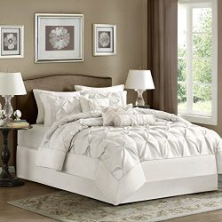 Madison Park Laurel Cal King Size Bed Comforter Set Bed in A Bag – White, Wrinkle Tufted P ...