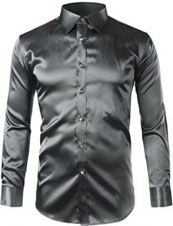 ZEROYAA Mens Regular Fit Long Sleeve Shiny Satin Silk Like Dance Prom Dress Shirt Tops Z6 Dark G ...