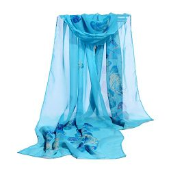 Hmlai Chiffon Scarf, Women Fashion Design Butterfly Printing Soft Silk Chiffon Shawl Wrap Wraps  ...