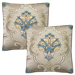 TEALP Embroidered Pillow Cover Art Silk Square Pillow Covers Damask Floral 18 X 18 inches Gold