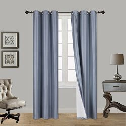 LuxuryDiscounts 2 Piece Thick Faux Silk Blackout Insulated Room Darkening Grommet Top Window Cur ...