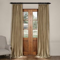 CTSK-161007-96 Cotton Silk Curtain, 50 X 96, Silver Taupe