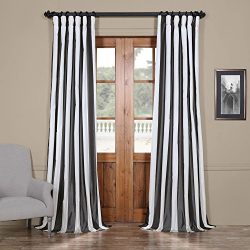 Half Price Drapes PTSCH-11089-84 Faux Silk Taffeta Stripe Curtain, Presidio