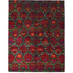 Solo Rugs M6418-3 Sari Silk Hand Knotted Area, 8′ 0″ x 10′ 3″, Red