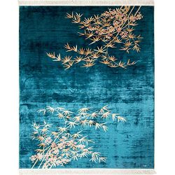 Yilong 8×10 Area Rug Chinese Silk Carpet Art Deco Bamboo Plum Design Hand Knotted Rugs for  ...