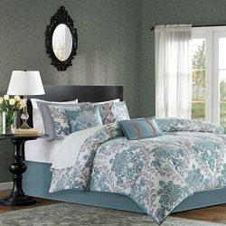 Madison Park Bella King Size Bed Comforter Set Bed in A Bag – Aqua, Grey, Damask – 7 Piece ...