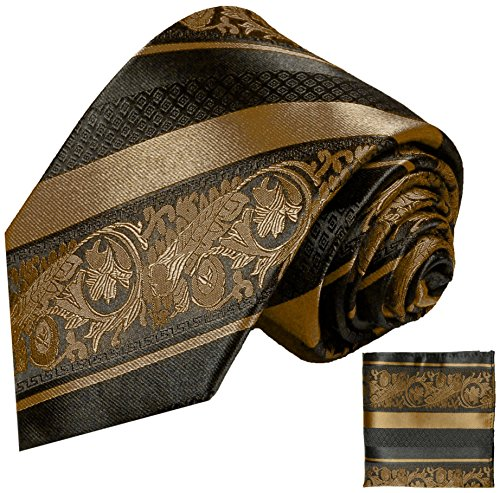 Bronze and Black Paul Malone Silk Tie and Pocket Square