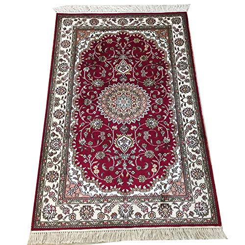 Shop Classical Kashan Medallion Hand Knotted Persian Wool: YILONG CARPET 2.5' X 4' Handmade Silk Rug For Living Room
