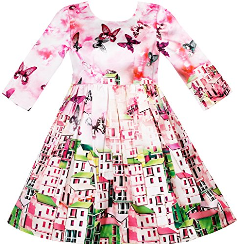 Sunny Fashion HJ33 Girls Dress Satin Silk Butterfly City Building View Pink Size 6