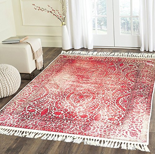 Home Must Haves Design Burgundy Beige High Density Luxury Large Soft Faux Silky Persian Traditio ...