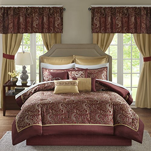 Madison Park Essentials Brystol King Size Bed Comforter Set Room in A Bag – Red, Gold, Jac ...