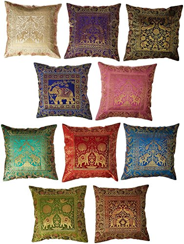 Jaipur Textile Hub 10 Pc Lot Square Silk Home Decor Cushion Cover, Indian Silk Brocade Pillow Co ...