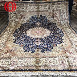 Silk Persian Rugs 9×12 Blue Turkish Area Rugs For Living Room Yuchen Carpet