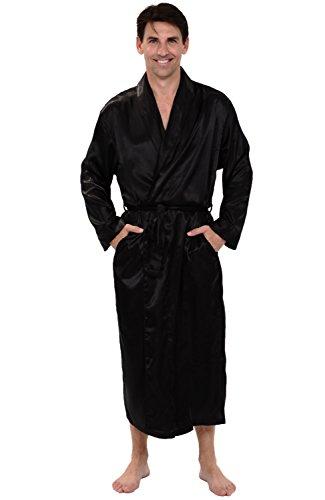 Alexander Del Rossa Mens Satin Robe, Long Lightweight Loungewear, 2XL Black (A0720BLK2X)
