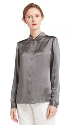 LilySilk Silk Button Down Shirts for Women Long Sleeve 22 Momme Pure Charmeuse Silk (Grey, Medium)