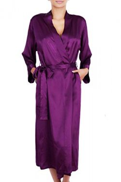 OSCAR ROSSA Women's Luxury Silk Sleepwear 100% Silk Long Robe Kimono, Ruby Wine, Small / M ...