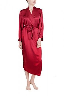 OSCAR ROSSA Women's Luxury Silk Sleepwear 100% Silk Long Robe Kimono