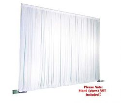 ICE Silk White Backdrop Wedding Wall Drape Photo Background Plain Top Velcro Tape (10ft x 20ft)