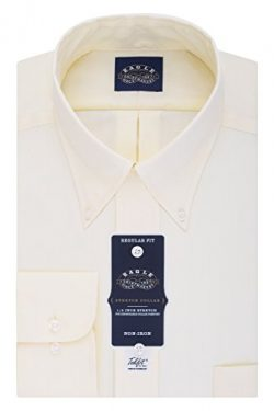 Eagle Men's Non Iron Stretch Collar Regular Fit Solid Buttondown Collar Dress Shirt, Corn  ...