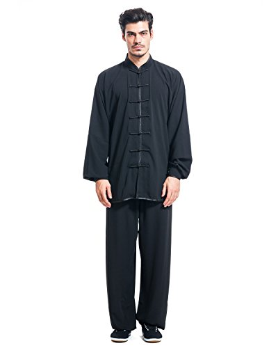 ICNBUYS Men's Kung Fu Tai Chi Uniform Cotton Silk XL Black