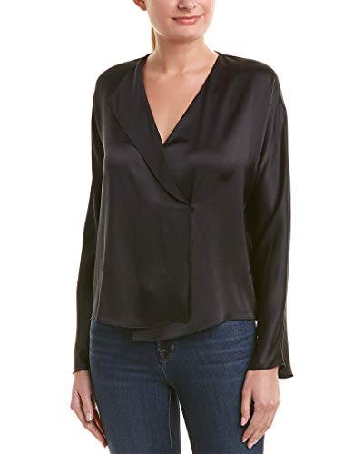 Vince Women's Drape Panel Blouse, Black, X-Small