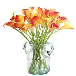 Artificial Flowers, Fake Flowers Silk Plastic Artificial Calla Lily Bridal Wedding Bouquet for H ...