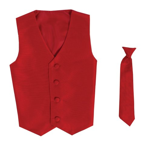 Vest and Clip On Boy Necktie set – RED – 12/14