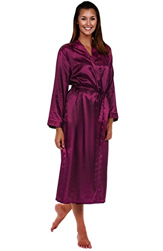 Alexander Del Rossa Womens Satin Robe, Long Dressing Gown, Small Deep Purple (A0755PURSM)