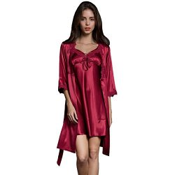 SUNBABY Women Sexy Silk Satin Robe Camisole Pajama Dress Two Piece Suit Sleepwear (M, Burgundy)