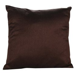 The White Petals Set of 2 Dark Brown Art Silk Pillow Covers, Plain Silk Cushion Cover, Solid Col ...