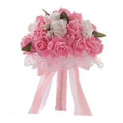 WensLTD_ Wedding Bouquet, Crystal Roses Bridesmaid Wedding Bouquet Bridal Artificial Silk Flower ...