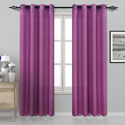 DWCN Semi Sheer Curtains Faux Silk Living Room Curtains Grommet Window Curtain Panels 52 x 84 in ...