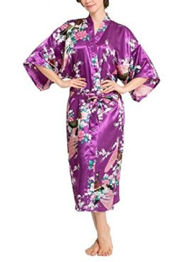 SexyTown Women's Long Floral Peacock Kimono Robe Satin Nightwear with Pockets Small Dark P ...
