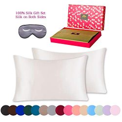 BlueHills Gift Set 100% Pure Mulberry Natural Soft Both Sides Silk Pillowcase 2 Pack 19 Momme 60 ...
