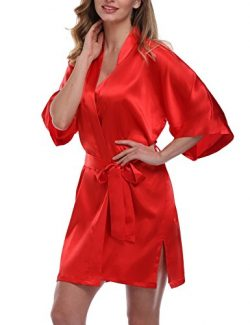 expressbuynow Women's Satin Kimono Robe Short Dressing Gown Silk Bridesmaid Robe, Solid Co ...